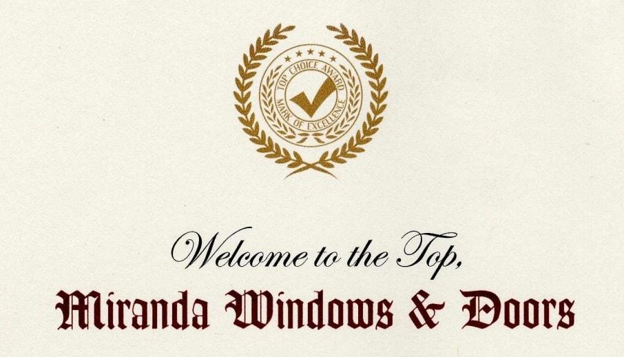 Miranda windows doors top choice award 2007
