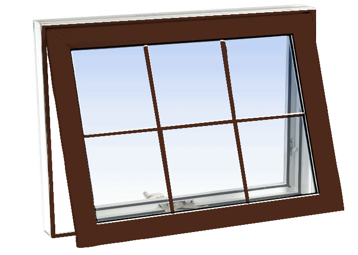 awning windows high gloss brown