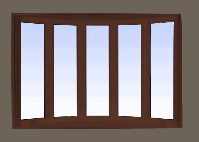 bow windows high gloss brown