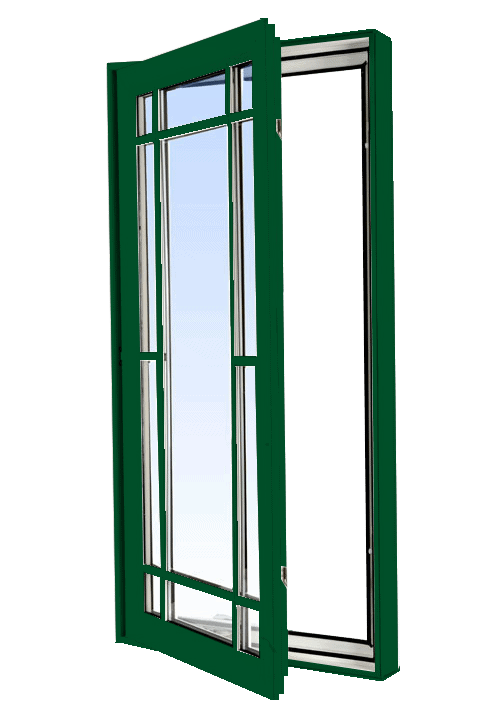 casement windows forest green