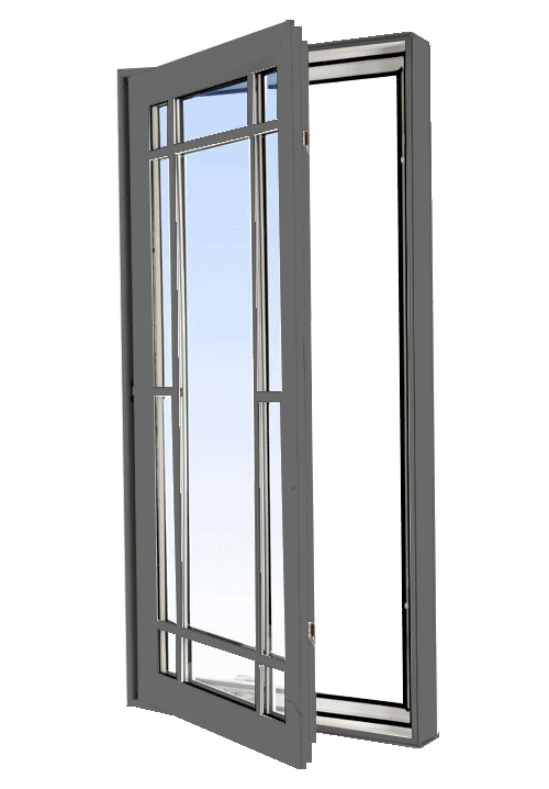 casement windows grey