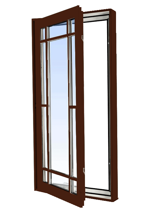 casement windows high gloss brown