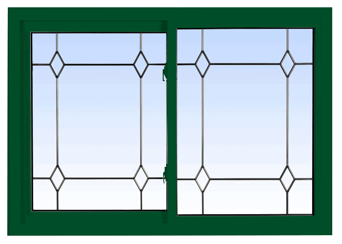 double lift out slider windows forest green