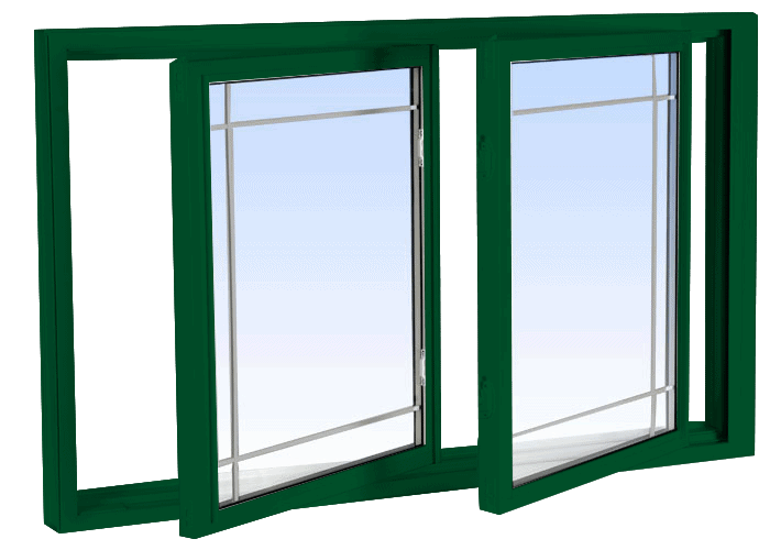double tilt slider windows forest green
