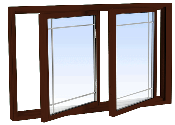 double tilt slider windows high gloss brown
