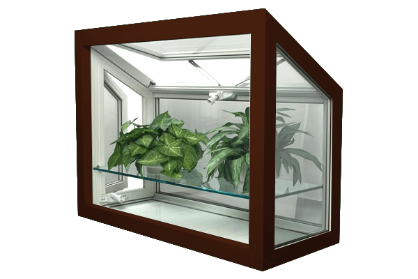 greenhouse windows high gloss brown