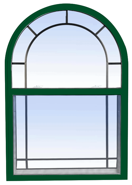 single hung windows forest green