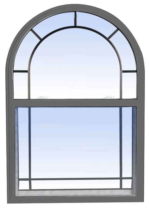 single hung windows grey