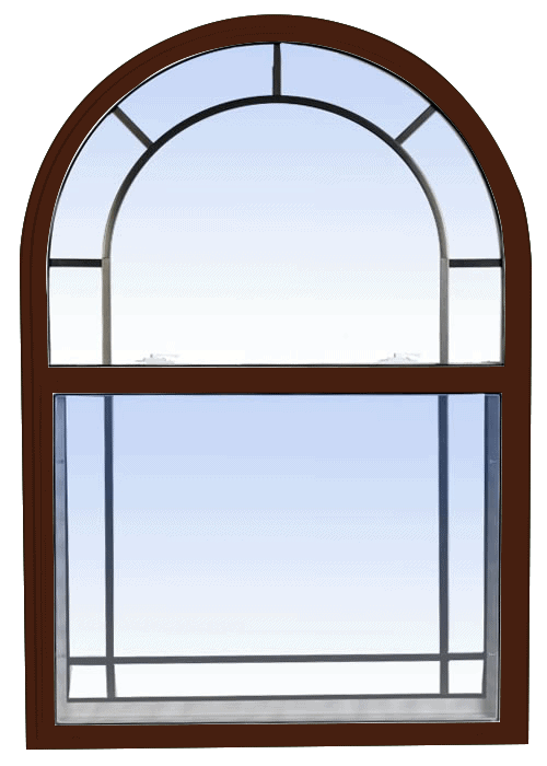 single hung windows high gloss brown