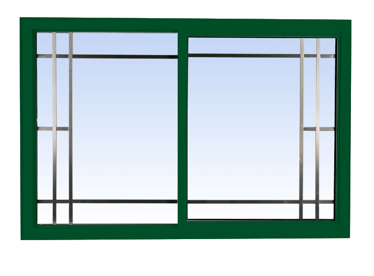 single slider lift out windows forest green