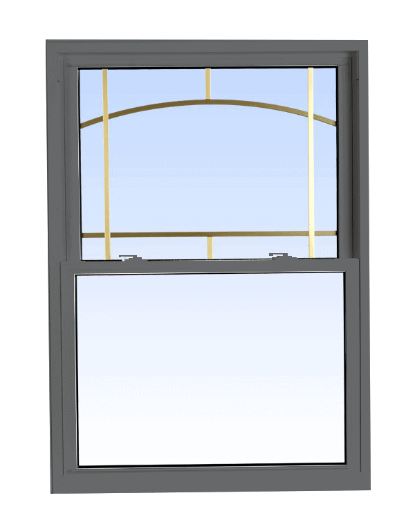 double hung windows grey