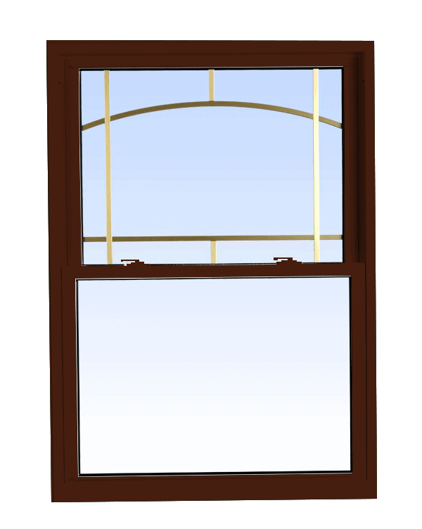 double hung windows high gloss brown